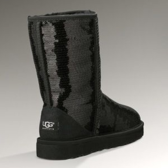 short classic black sequin sparkle UGG boots
